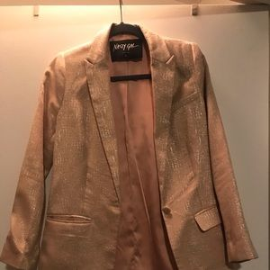 Nasty Gal rose gold shimmer blazer